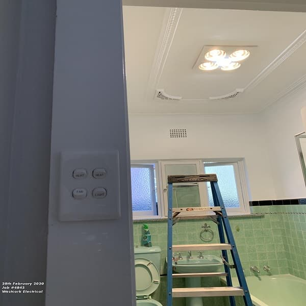 IXL bathroom light, heat, fan install