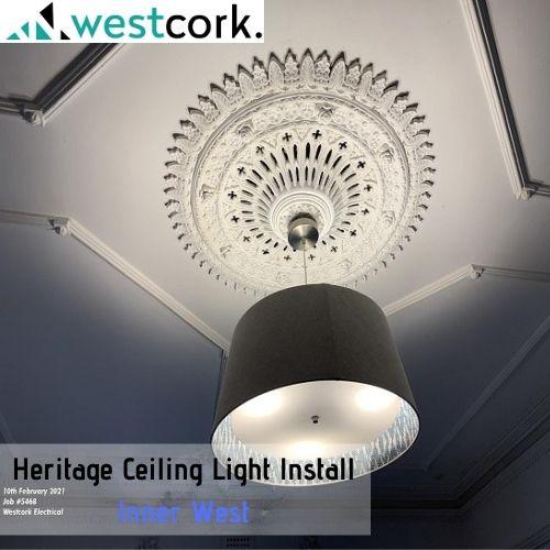 Heritage Ceiling Light Install Inner West